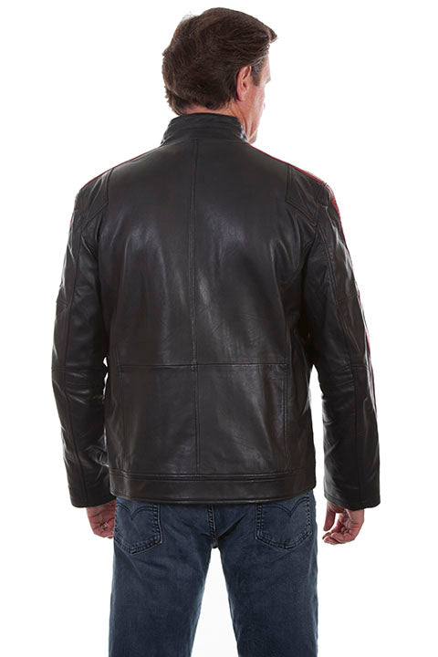 Scully Men's Lamb Leather Motorcycle Jacket Back