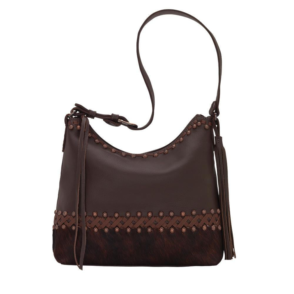 American West Handbag Wild Horses Collection: Leather Shoulder Brown Brindle Front