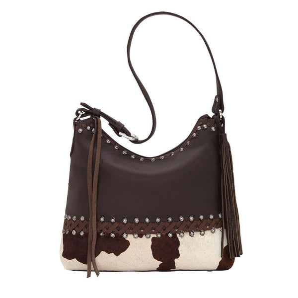 American West Handbag Wild Horses Collection: Leather Shoulder Pony Print Front