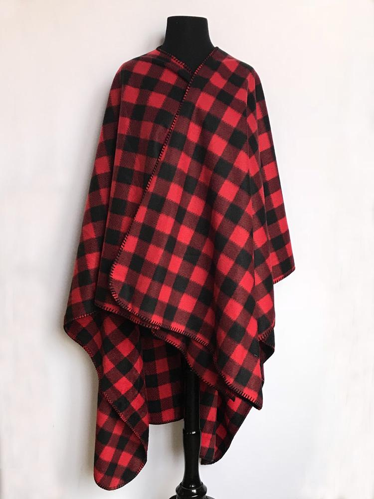 Rockmount Ranch Wear Western Poncho Red Check