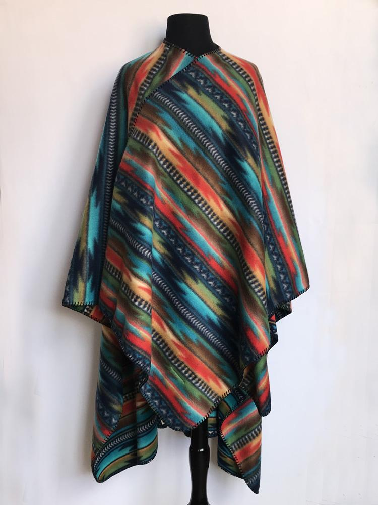Rockmount Ranch Wear Home Fleece Poncho Serape Turquoise