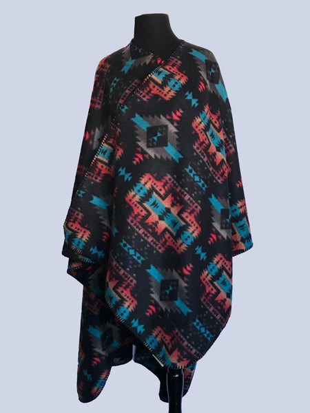 Rockmount Ranch Wear Western Poncho Black Turquoise
