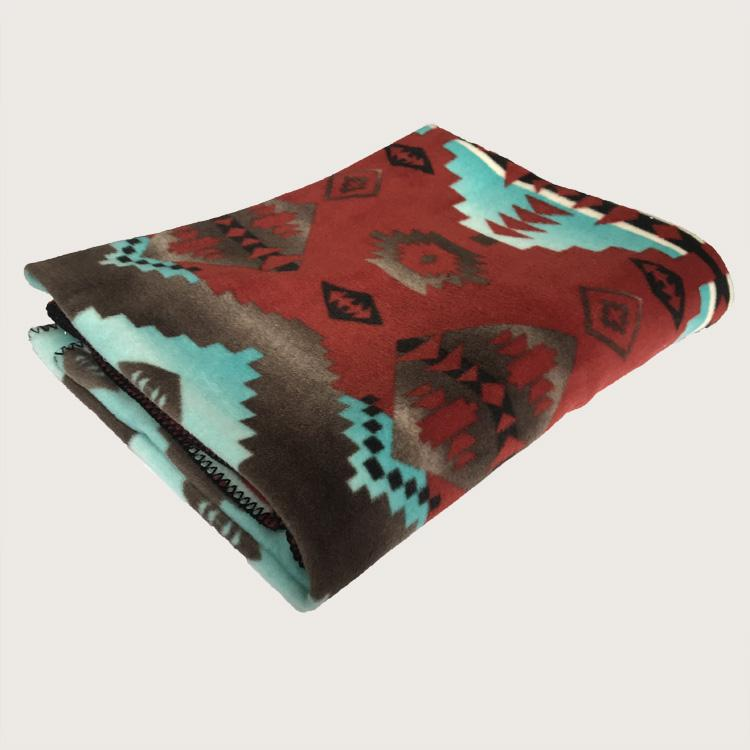 Rockmount Home Collection: Blanket Native American Inspired Turquoise & Brick