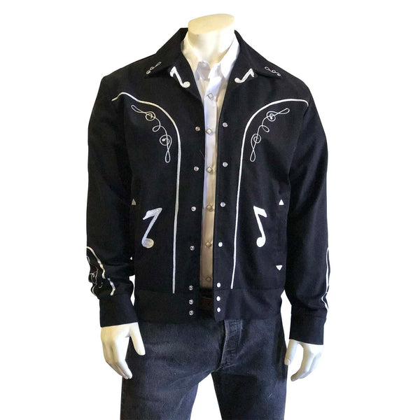 Vintage Inspired Western Jacket Mens Rockmount Ranch Wear Bolero Musical Notes Front Model