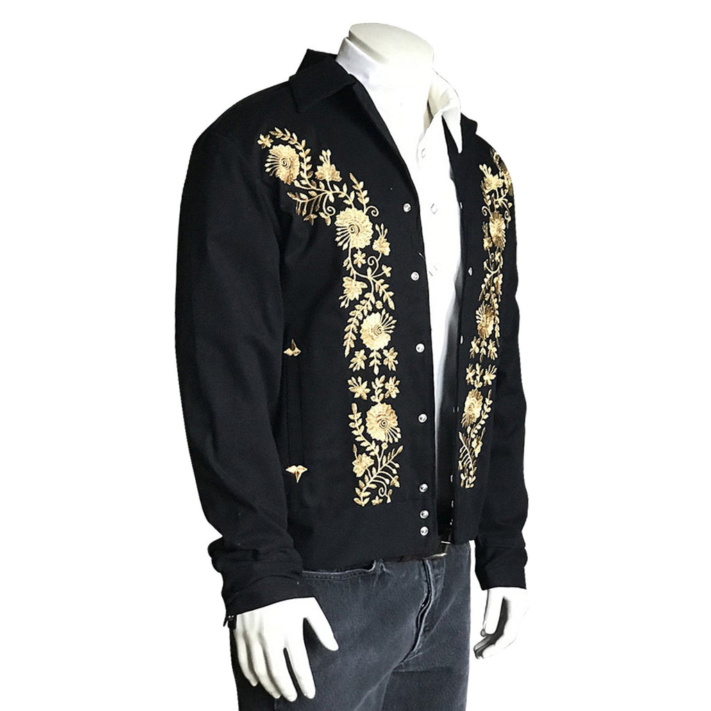 Rockmount Ranch Wear Mens Bolero Gold Floral Embroidery Side