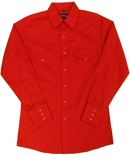 White Horse Apparel Men's Western Broadcloth Solid Shirt Red