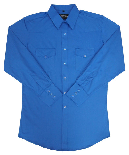 White Horse Apparel Men's Western Broadcloth Solid Shirt Royal