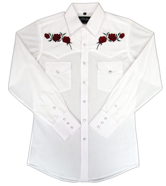 White Horse Apparel Men's Western Shirt Embroidered Roses on White