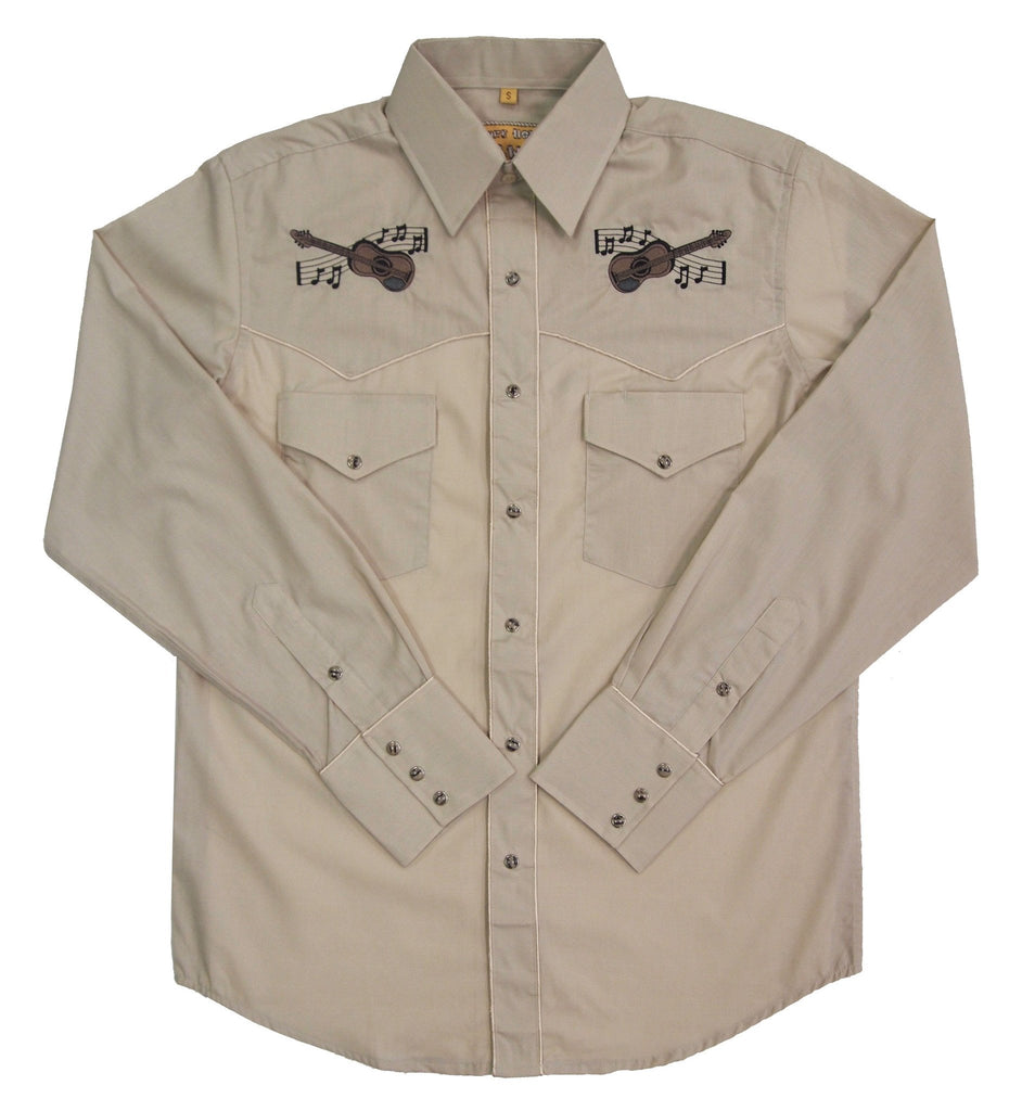 White Horse Apparel Men's Embroidered Western Shirt with Guitars and Notes