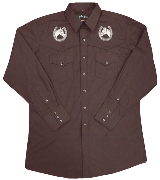 White Horse Apparel Men's Western Shirt Embroidered Yokes Horse Heads