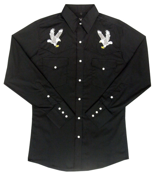 White Horse Apparel Men's Western Embroidered Shirt with Flying Eagle Black Body