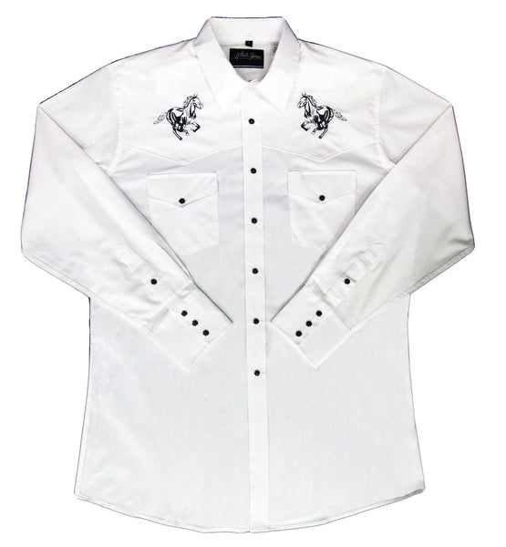 White Horse Apparel Men's Western Embroidered Shirt Running Horse on White