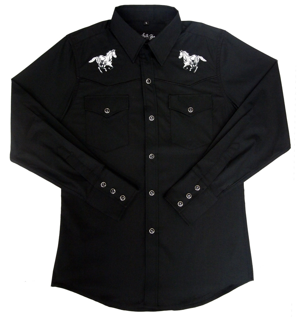 White Horse Apparel Men's Western Embroidered Shirt with Running Horse on Front Yokes Black