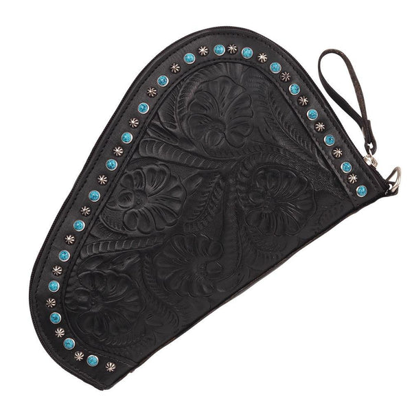 American West Handbag Collection Leather Padded Gun Case Black