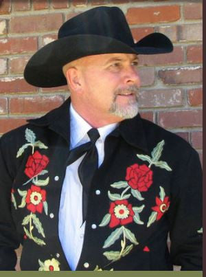 Vintage Inspired Western Jacket Mens Rockmount Ranch Wear Floral Embroidery Front