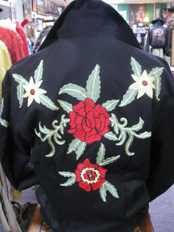 Vintage Inspired Western Jacket Mens Rockmount Ranch Wear Floral Embroidery Back