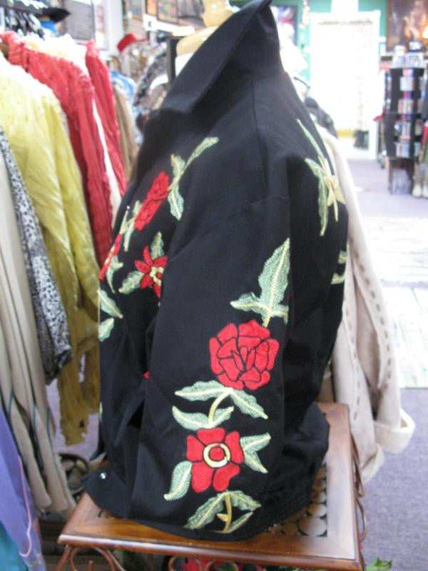 Vintage Inspired Western Jacket Mens Rockmount Ranch Wear Floral Embroidery Sleeve