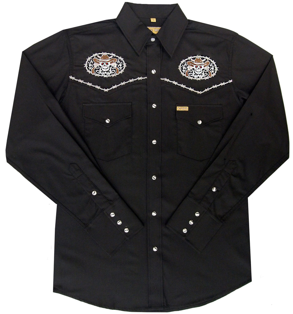 White Horse Apparel Men's Western Embroidered Shirt with Skulls and Pistols