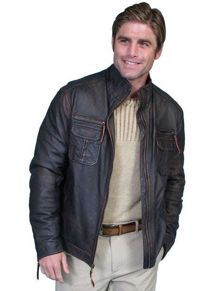 Men's Leather Jacket Collection: Scully Casual Lambskin Zip Front