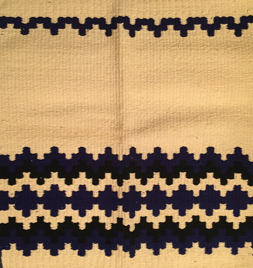 Saddle Blanket Ivory Blue Black