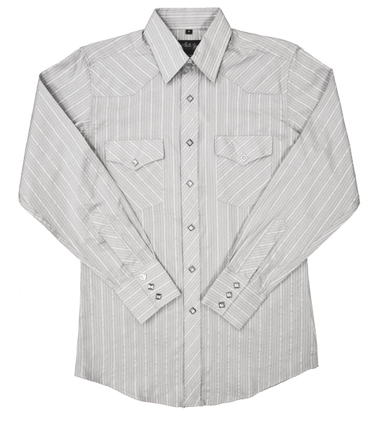 White Horse Apparel Men's Western Gray Stripe Shirt