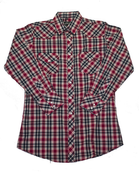 White Horse Apparel Men's Western Shirt Red Black