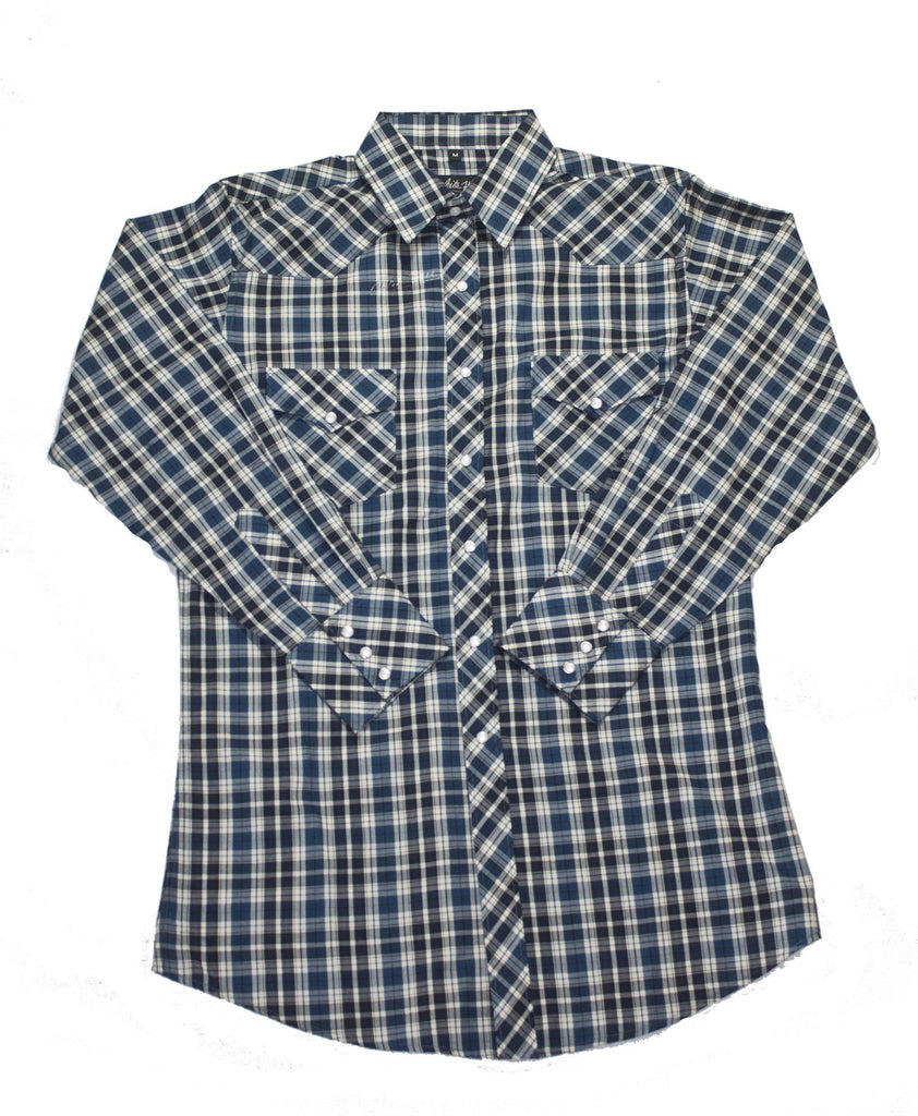 White Horse Apparel Men's Western Plaid Blue and Black