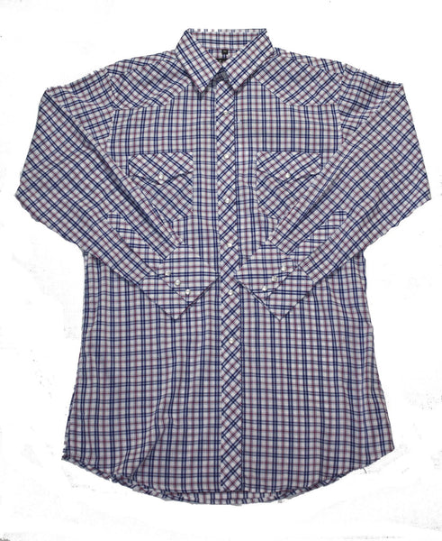 White Horse Apparel Men's Western Shirt Plaid Red Blue