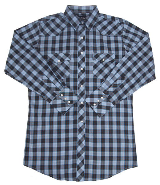 White Horse Apparel Men's Western Check Black and Blue