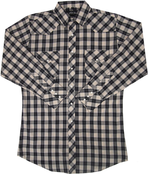 White Horse Apparel Men's Western Check Black and Tan