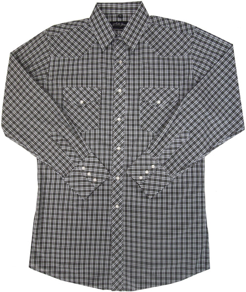 White Horse Apparel Men's Western Plaid Shirt Black White
