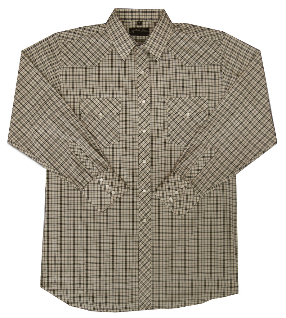 White Horse Apparel Men's Western Shirt Plaid Tan and Black
