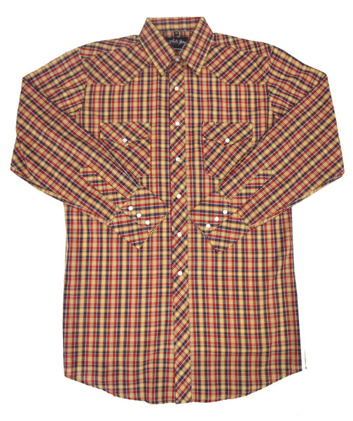 White Horse Apparel Men's Western Shirt Plaid Blue, Gold, Red