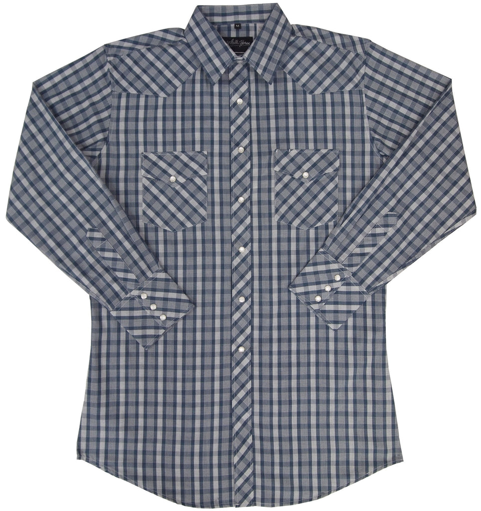 White Horse Apparel Men's Western Plaid Blue White