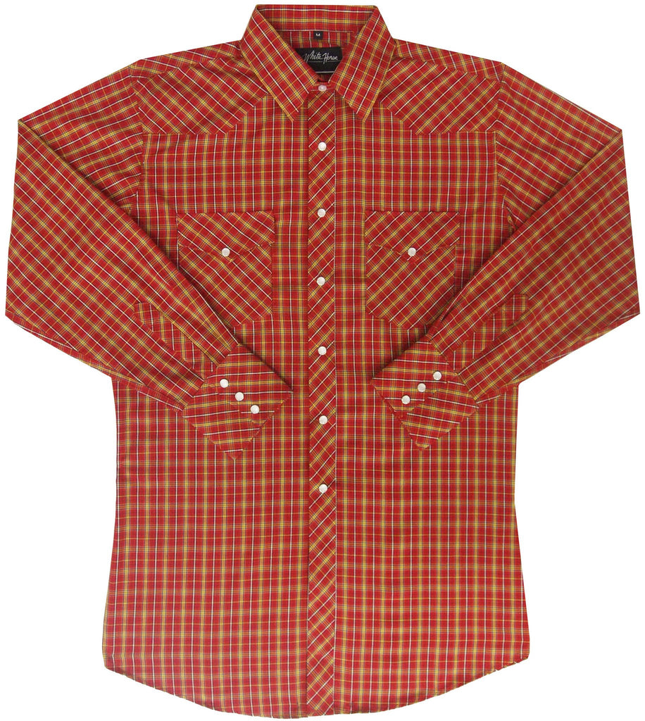 White Horse Apparel Men's Western Shirt Plaid Red Gold White