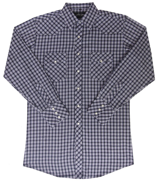 White Horse Apparel Men's Western Plaid Shirt Purple Black White