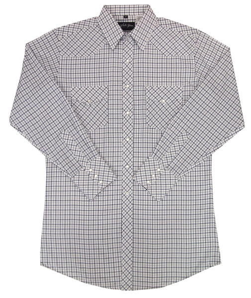 White Horse Apparel Men's Western Shirt Plaid Navy White