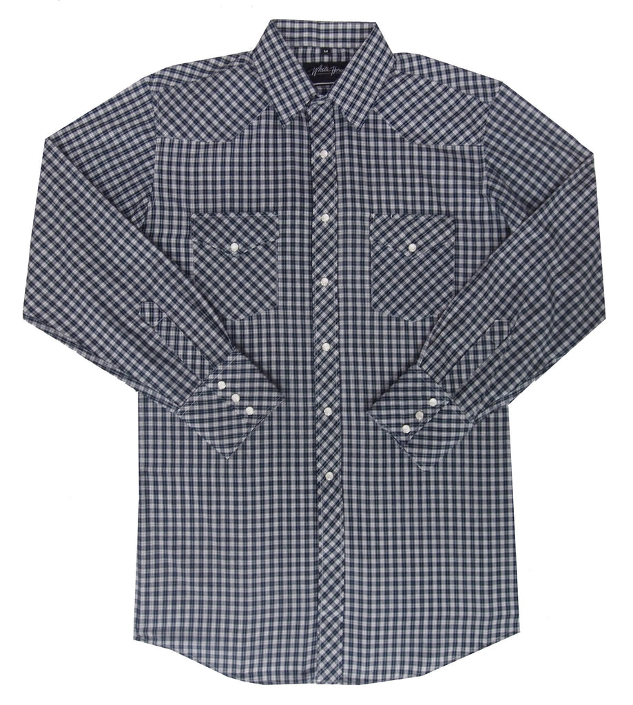 White Horse Apparel Men's Western Plaid Navy and White