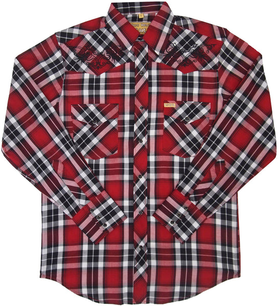 White Horse Apparel Men's Western Embroidered Plaid Shirt