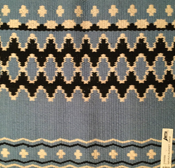 Navajo Saddle Blanket Light Blue, Ivory, Black