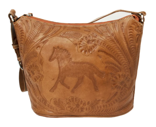 American West Handbag Tooled Equestrian Top Zip Tote Natural Tan Front