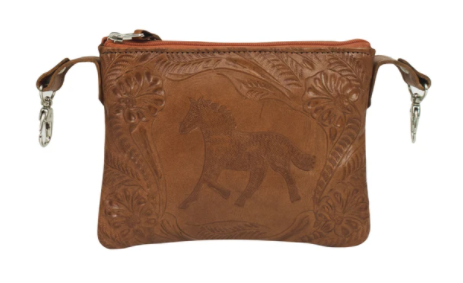 American West Handbag Tooled Crossbody Equestrian Trail Rider Natural Tan Front
