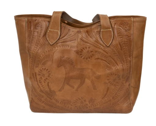 American West Handbag Concealed Carry Tote Equestrian Natural Tan Front