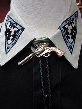 Rockmount Ranch Wear Bolo Necktie Tri-Color Pistol and Matching Trophy Buckle