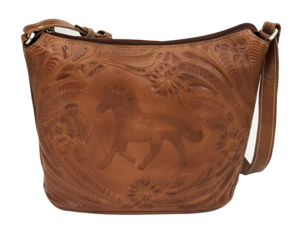 American West Handbag Tooled Equestrian Top Zip Tote Antique Brown Front