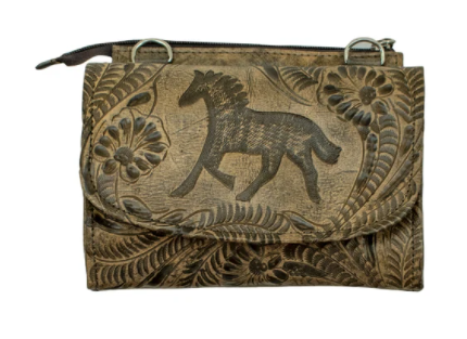 American West Handbag Tooled Collection: Leather Equestrian Crossbody