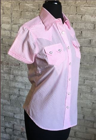 Rockmount Ranch Wear Womens Gingham Check Short Sleeves Pink Side