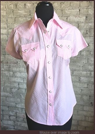Rockmount Ranch Wear Womens Gingham Check Short Sleeves Pink Front