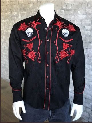 Rockmount Ranch Wear Mens Vintage Western Shirt Fancy Red Skulls and Roses Front Mannequin