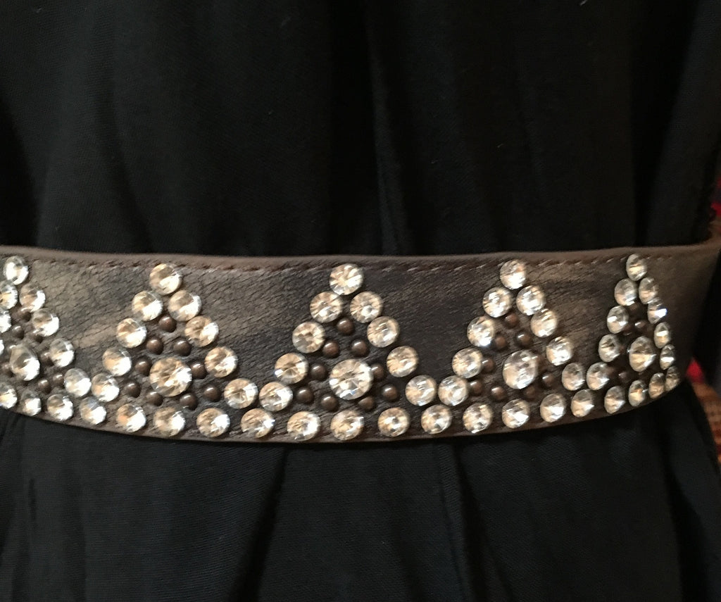 Western Fashion Brown Leather Belt with Copper Buckle and Rhinestones